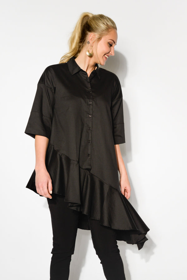 Black Asymmetrical Cotton Shirt - Blue Bungalow