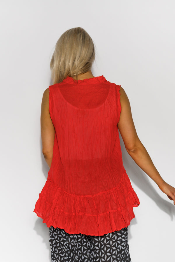 Red Sleeveless Crinkle Cotton Top - Blue Bungalow