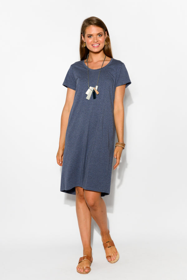 Ramona Blue Marle Tee Dress - Blue Bungalow