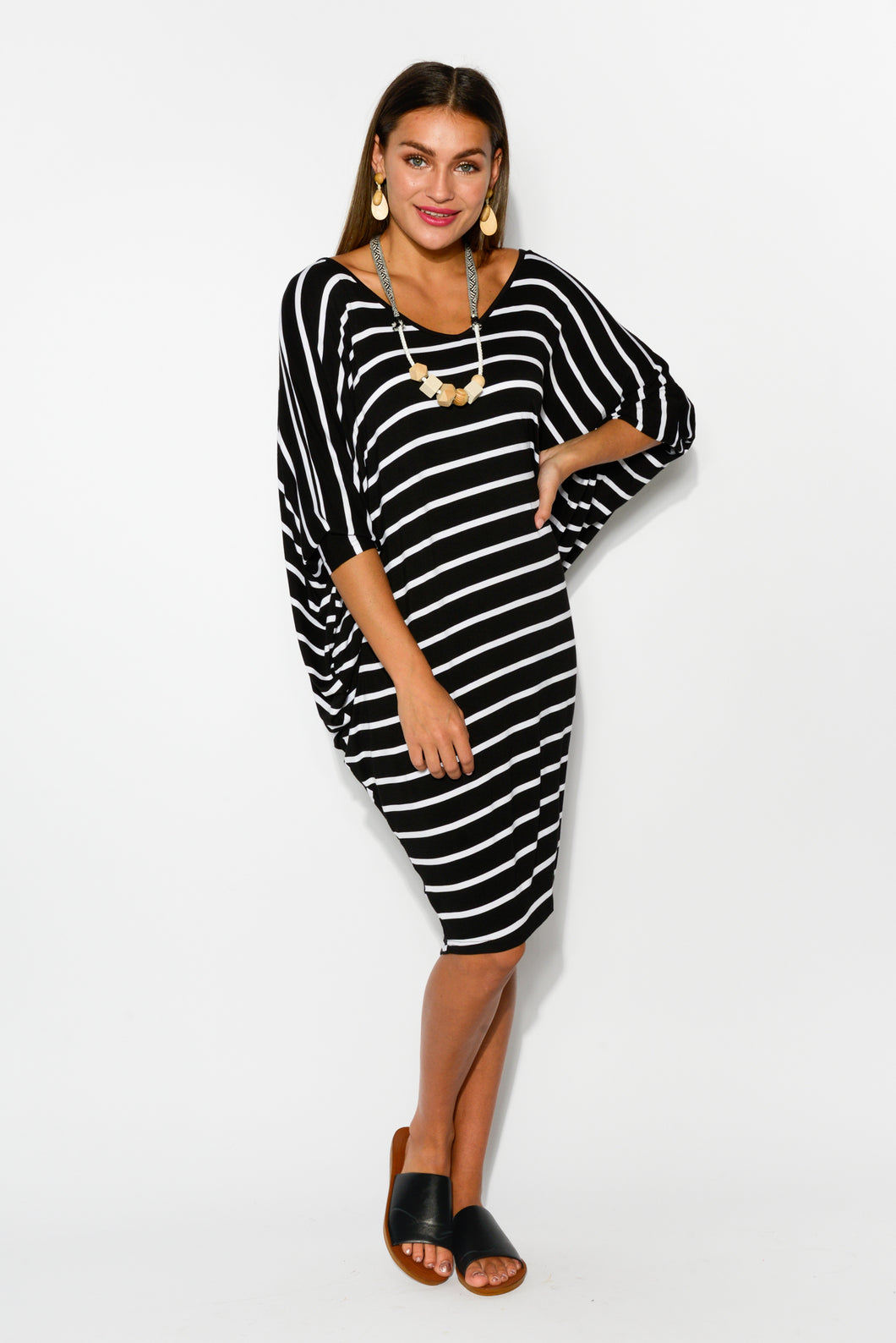 Tia Black Striped Batwing Dress