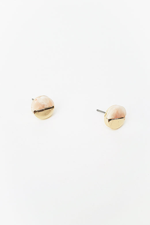 Pink Slice Gold Stud Earring - Blue Bungalow