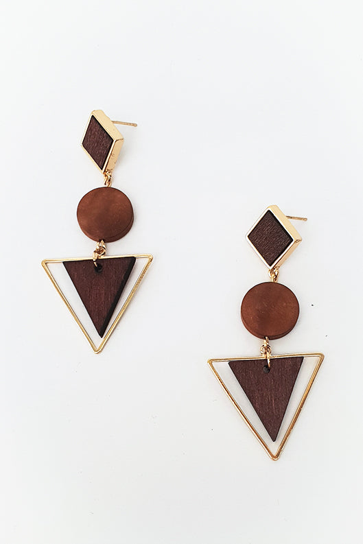 Galileo Wooden Drop Earring - Blue Bungalow