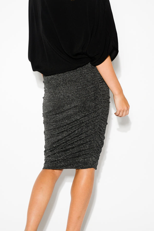 Silver Metallic Ruched Skirt - Blue Bungalow