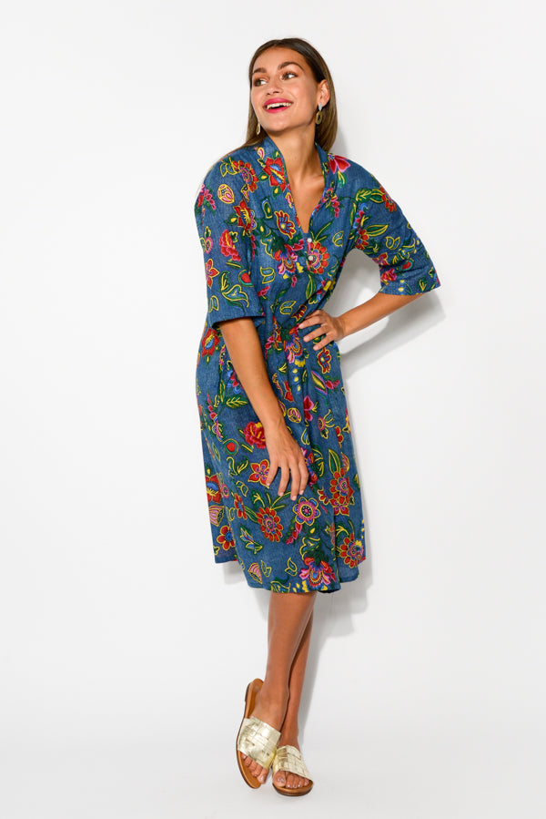 Mareeba Blue Tropic Sleeved Cotton Dress - Blue Bungalow