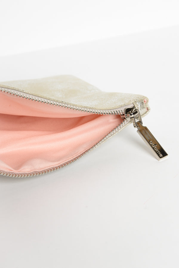 Metallic Washed Silver Zippie Clutch - Blue Bungalow