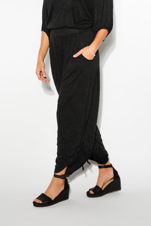 Black Slouch Side Tie Pants - Blue Bungalow