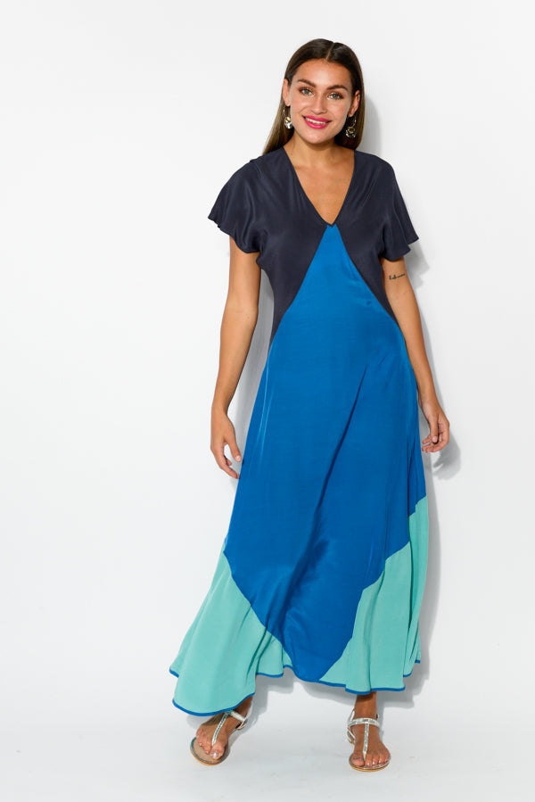 Blue Panel Floating Dress - Blue Bungalow