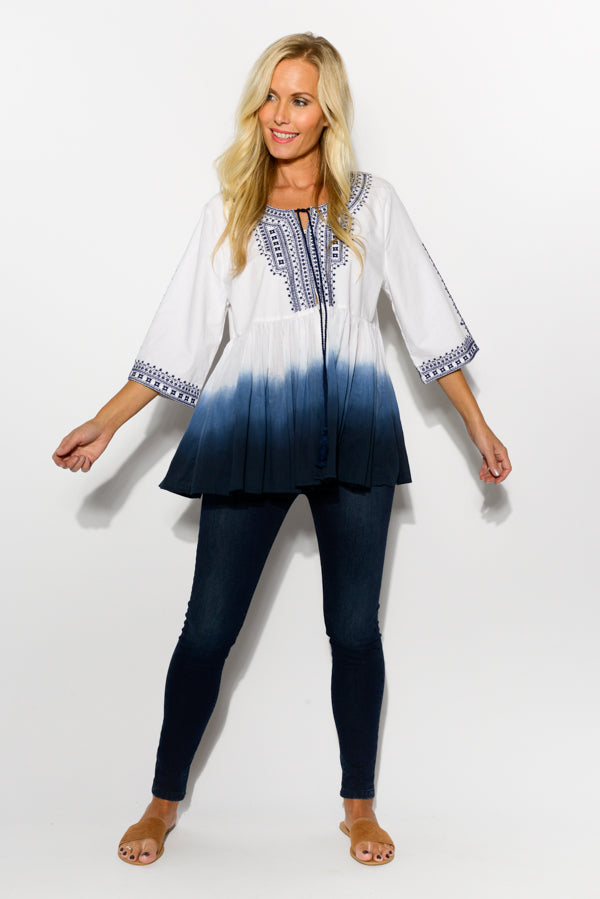 Blue Dip Dye Cotton Jacket - Blue Bungalow