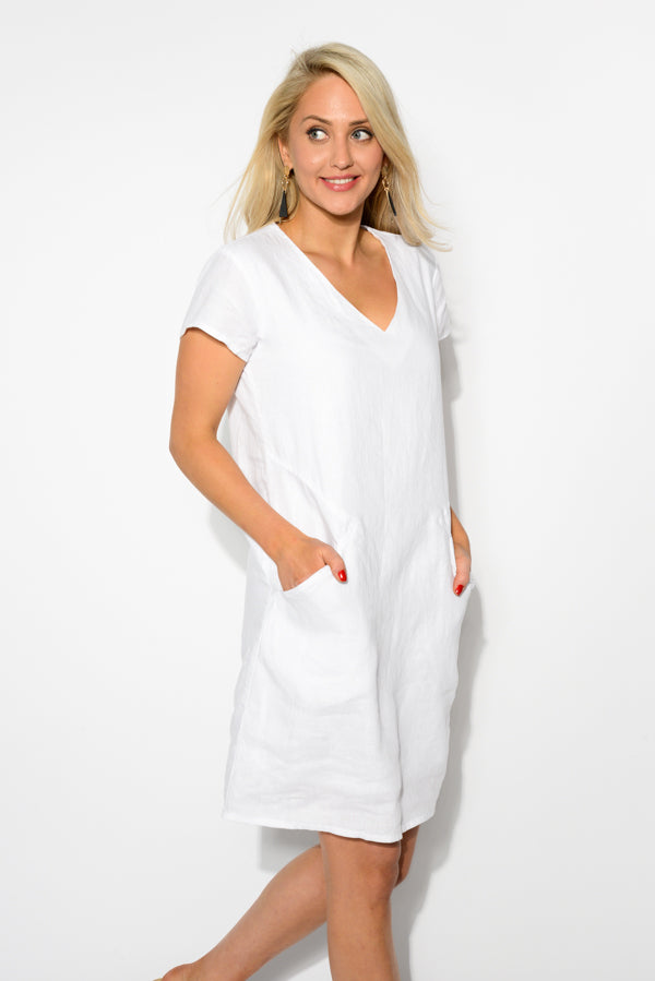 Leslie White Linen Dress - Blue Bungalow