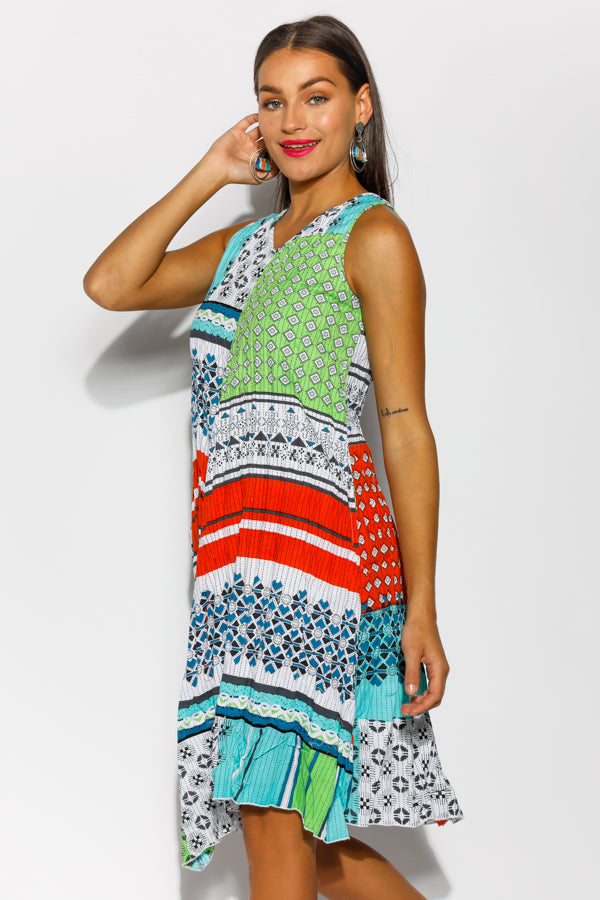 Tyrol Kaleidoscope Beach Cotton Dress - Blue Bungalow