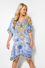 Ios Blue Silk Gwen Dress - Blue Bungalow