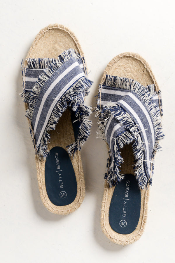 Seeker Navy Stripe Espadrille Slide - Blue Bungalow