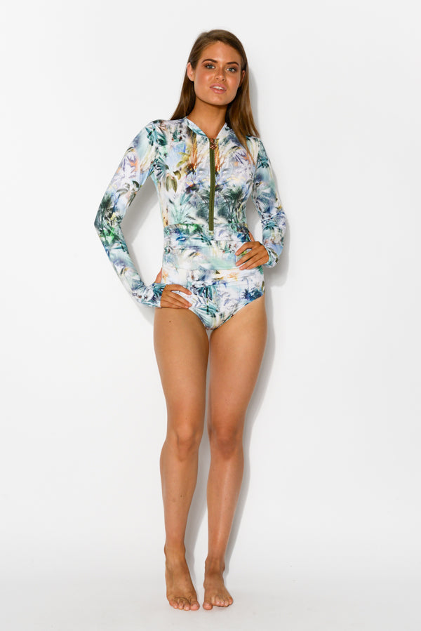 Emma Tropicale Sleeved One Piece - Blue Bungalow