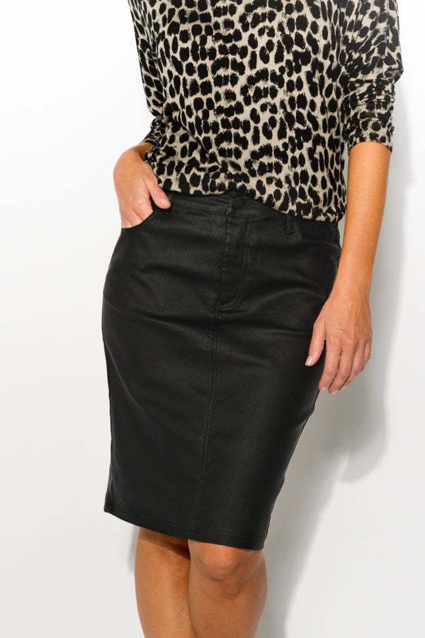 Monica Black Wax Coated Skirt - Blue Bungalow