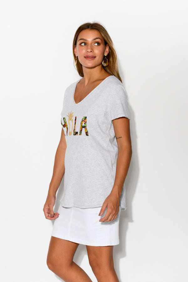 Hola Grey Cotton Tee - Blue Bungalow