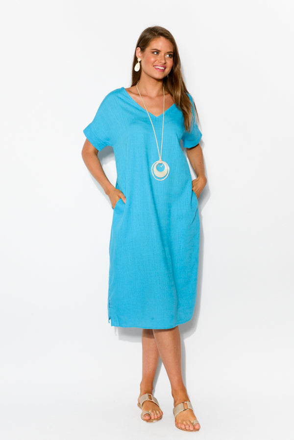 Hannah Blue Linen Cotton Dress