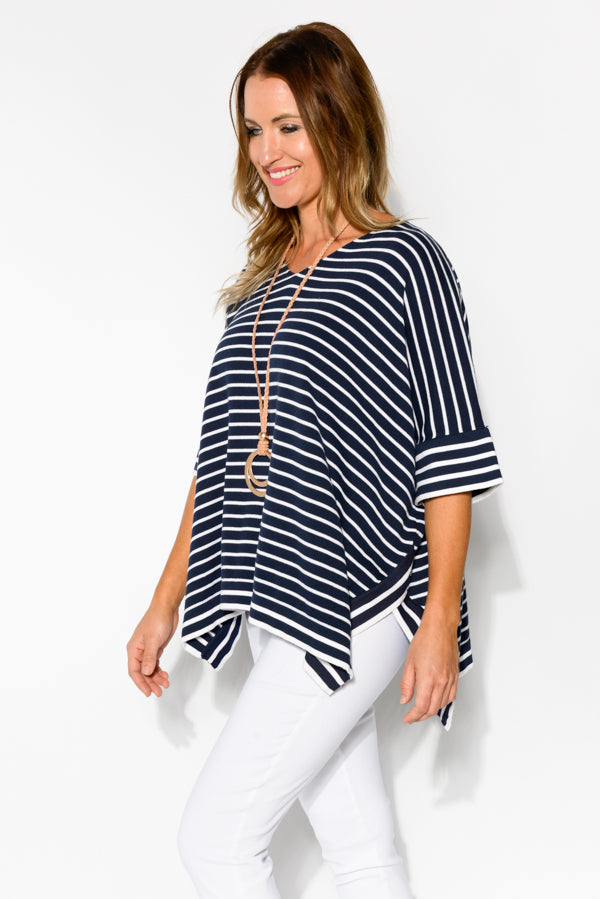 Navy Stripe Cotton V Neck Top - Blue Bungalow