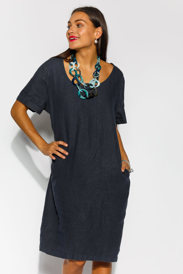 Pria Navy Linen Drape Dress - Blue Bungalow