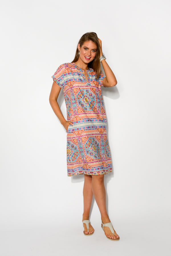 Aviana Bright Mosaic Cotton Shift Dress