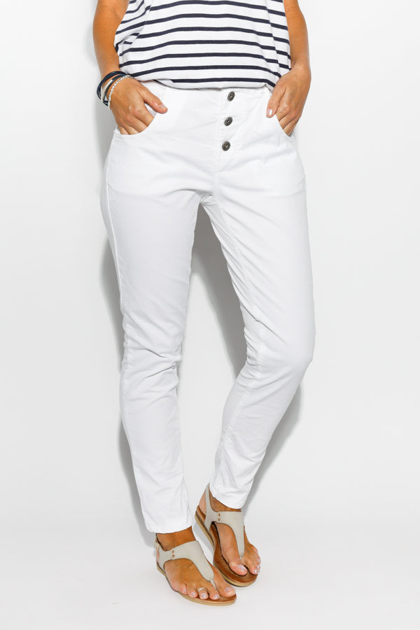 Abigail White Stretch Back Pant - Blue Bungalow