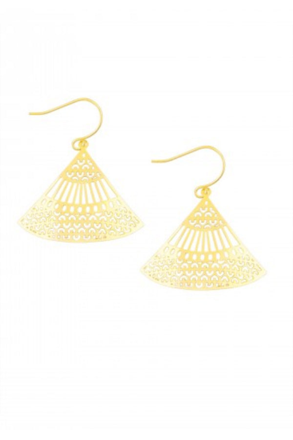 Gold Curved Lattice Earring - Blue Bungalow