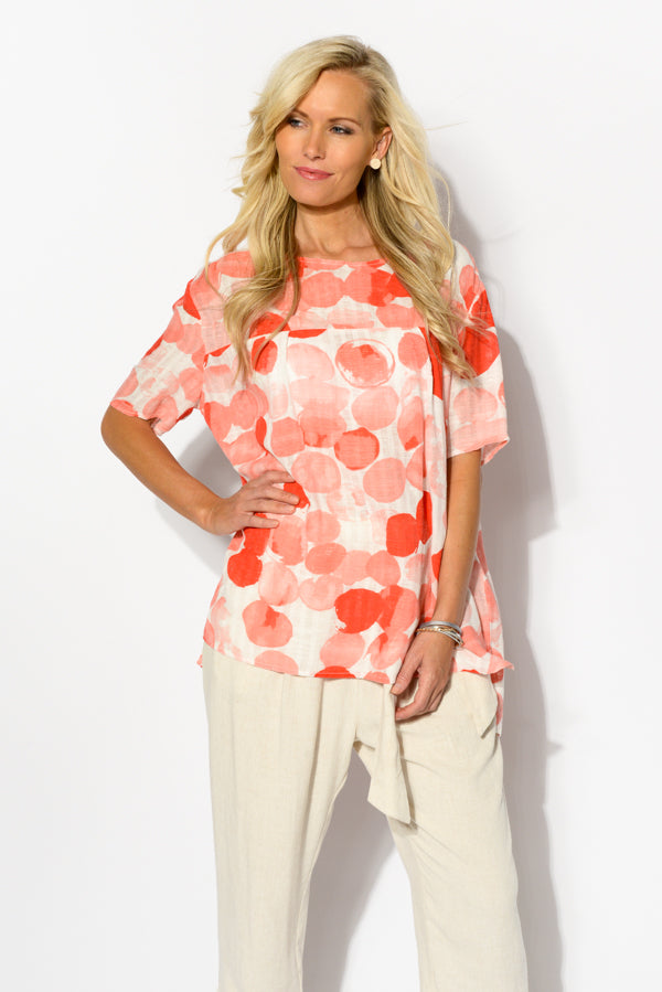Red Ink Blot Linen Blend Top - Blue Bungalow
