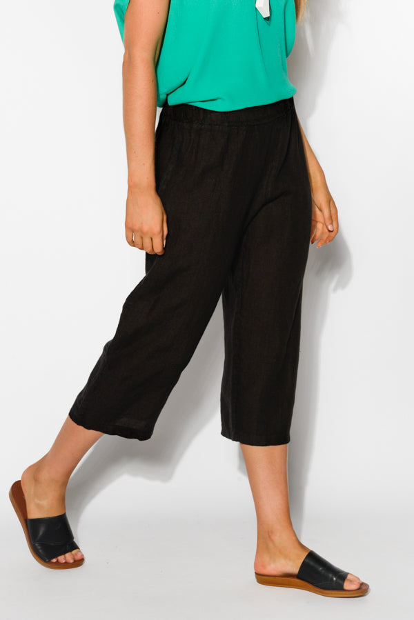 Pisa Black Wide Leg Linen Pant - Blue Bungalow