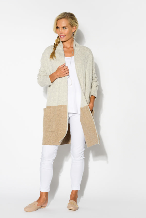 Caramel Two Tone Knit Cardigan - Blue Bungalow