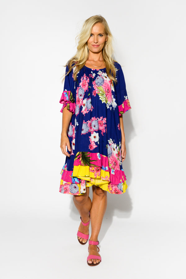 Navy Sakura Juliet  Ruffle Dress