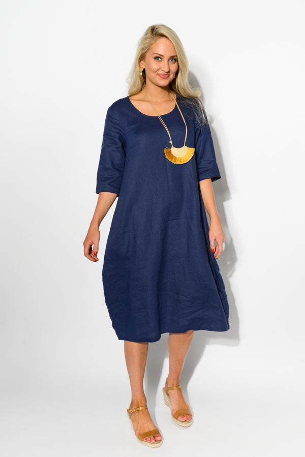 Adelaide Navy Linen Dress - Blue Bungalow
