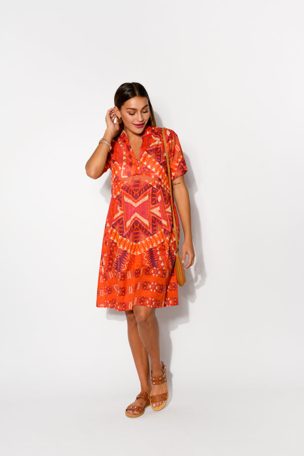 Mareeba Red Aztec Cotton Dress - Blue Bungalow