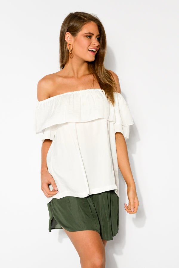 Lila White Off Shoulder Top