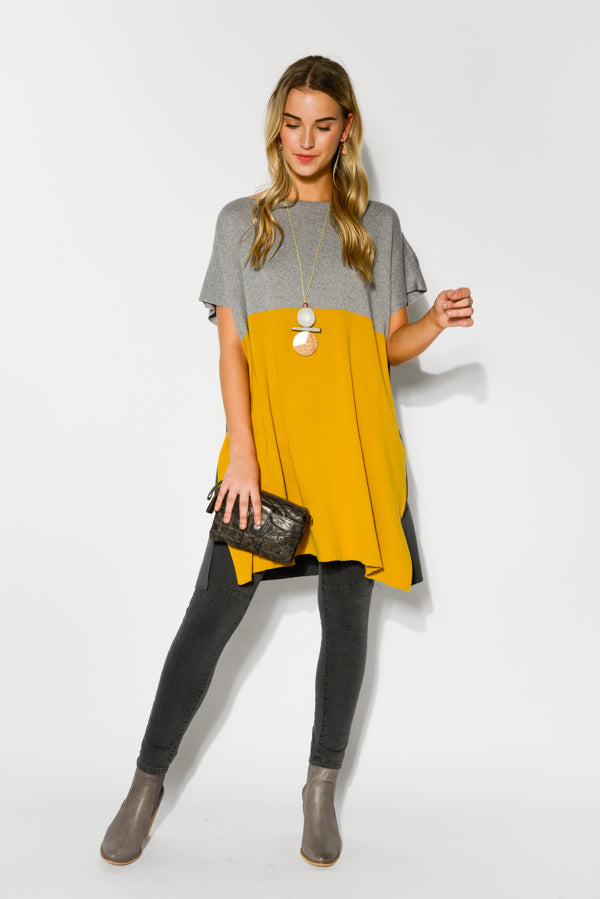 Bridget Mustard Cashmere Knit Tunic Dress - Blue Bungalow