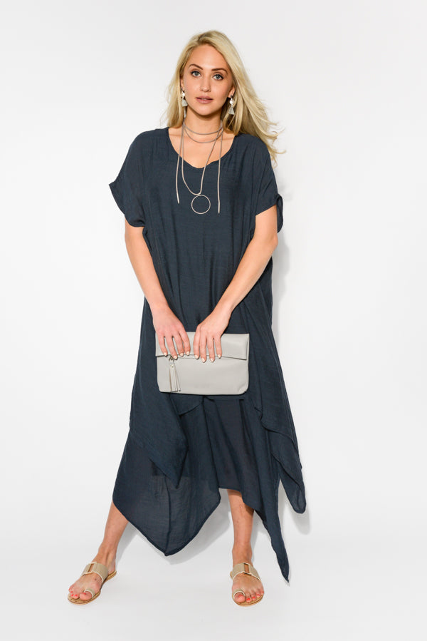 Slate Tiered Cotton Dress - Blue Bungalow