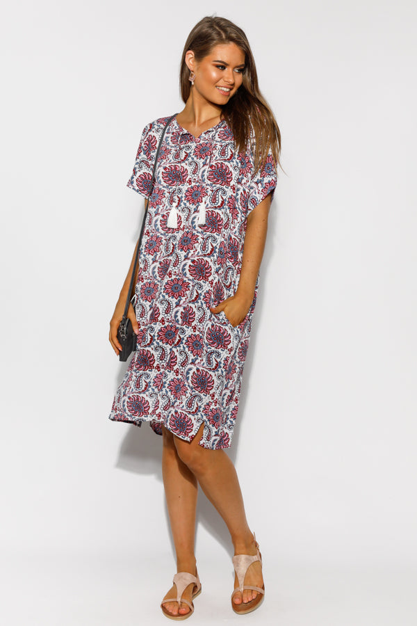 Ainsley Purple Floral Crinkle Dress