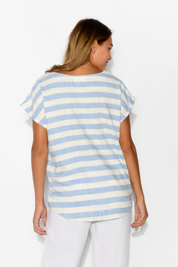 Amalfi Blue Stripe Top
