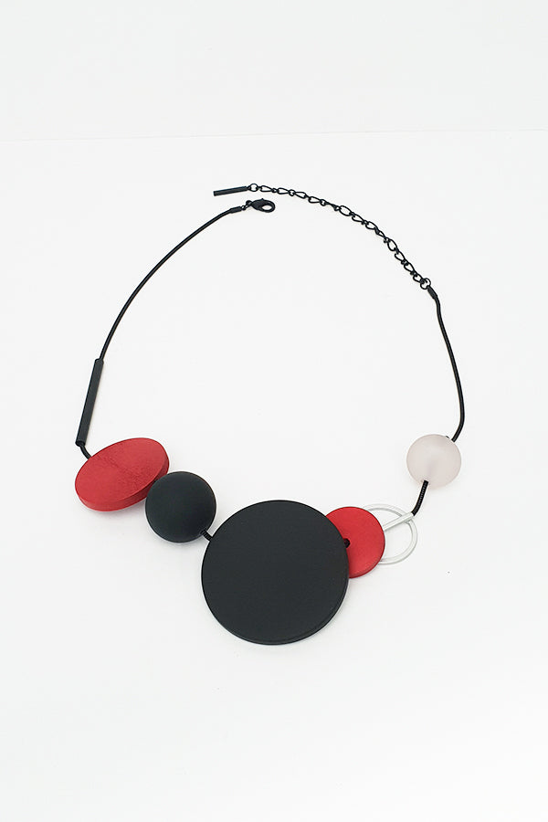 Red and Black Circles Necklace - Blue Bungalow