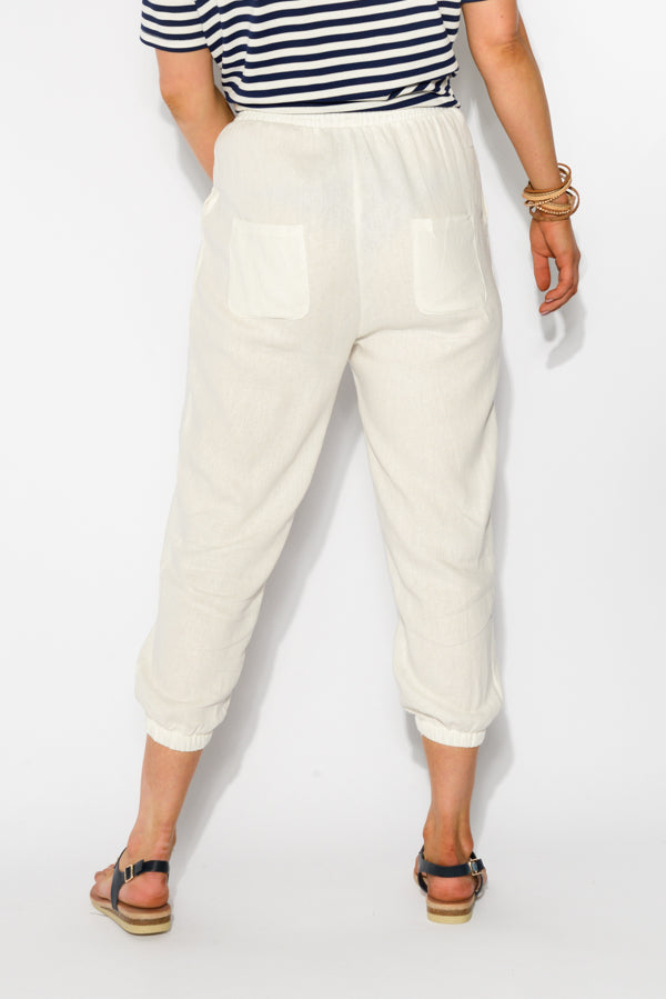 Tori White Linen Blend Pant - Blue Bungalow