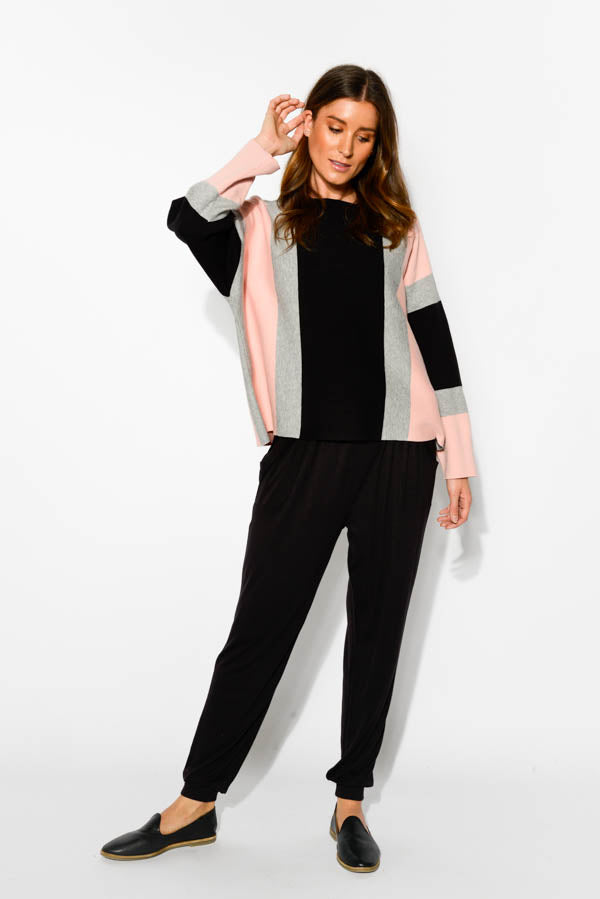 Pink Contrast Stripe Cotton Sweater