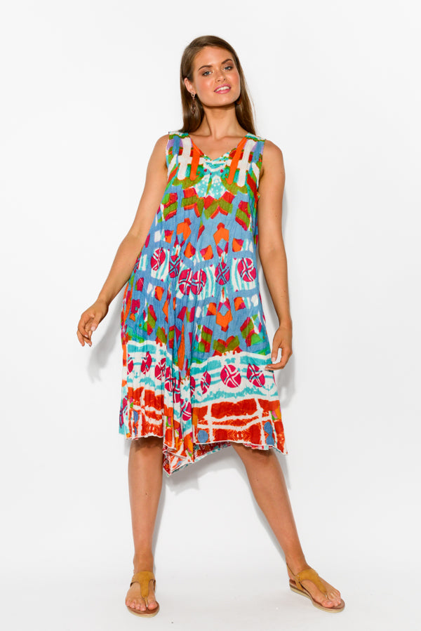 San Marco Reversible Cotton Beach Dress - Blue Bungalow