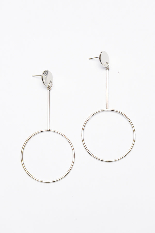 Silver Drop Circle Earring - Blue Bungalow