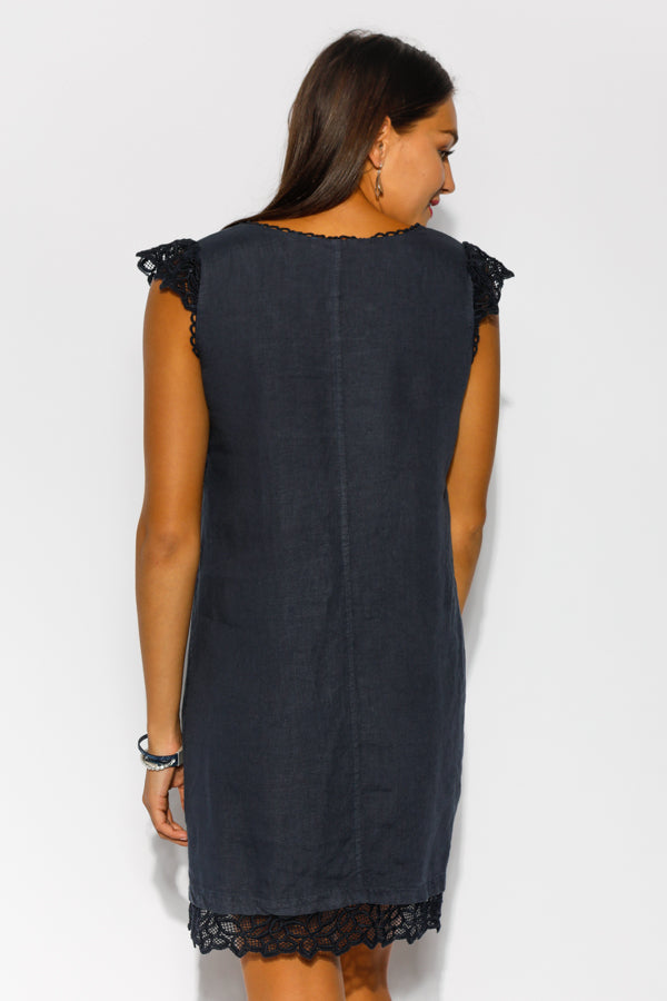 Ophelia Lace Navy Linen Dress - Blue Bungalow