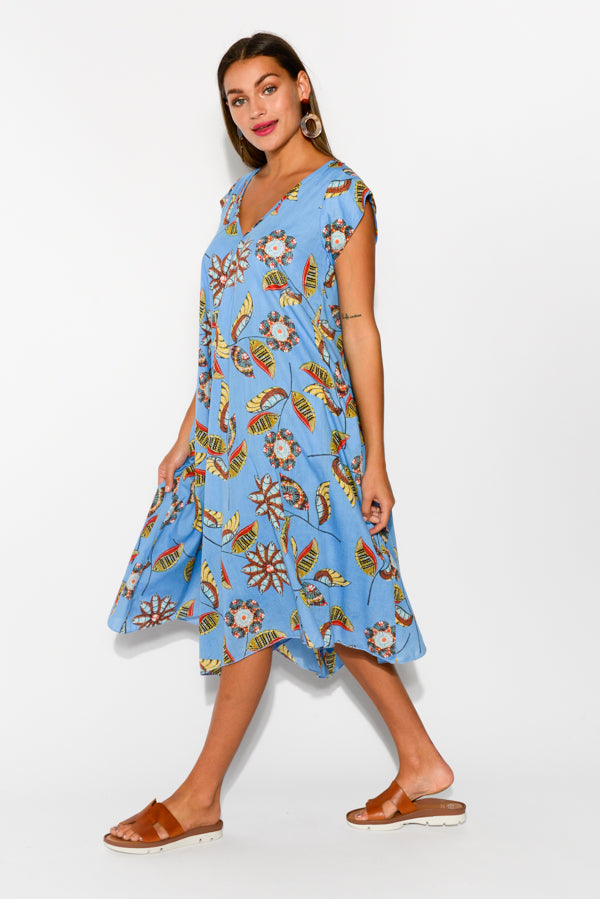 Maheno Blue Floral Cotton Dress - Blue Bungalow