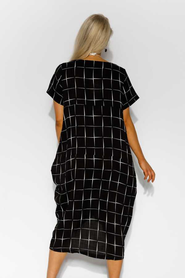 Millie Black Asymmetrical Check Dress - Blue Bungalow