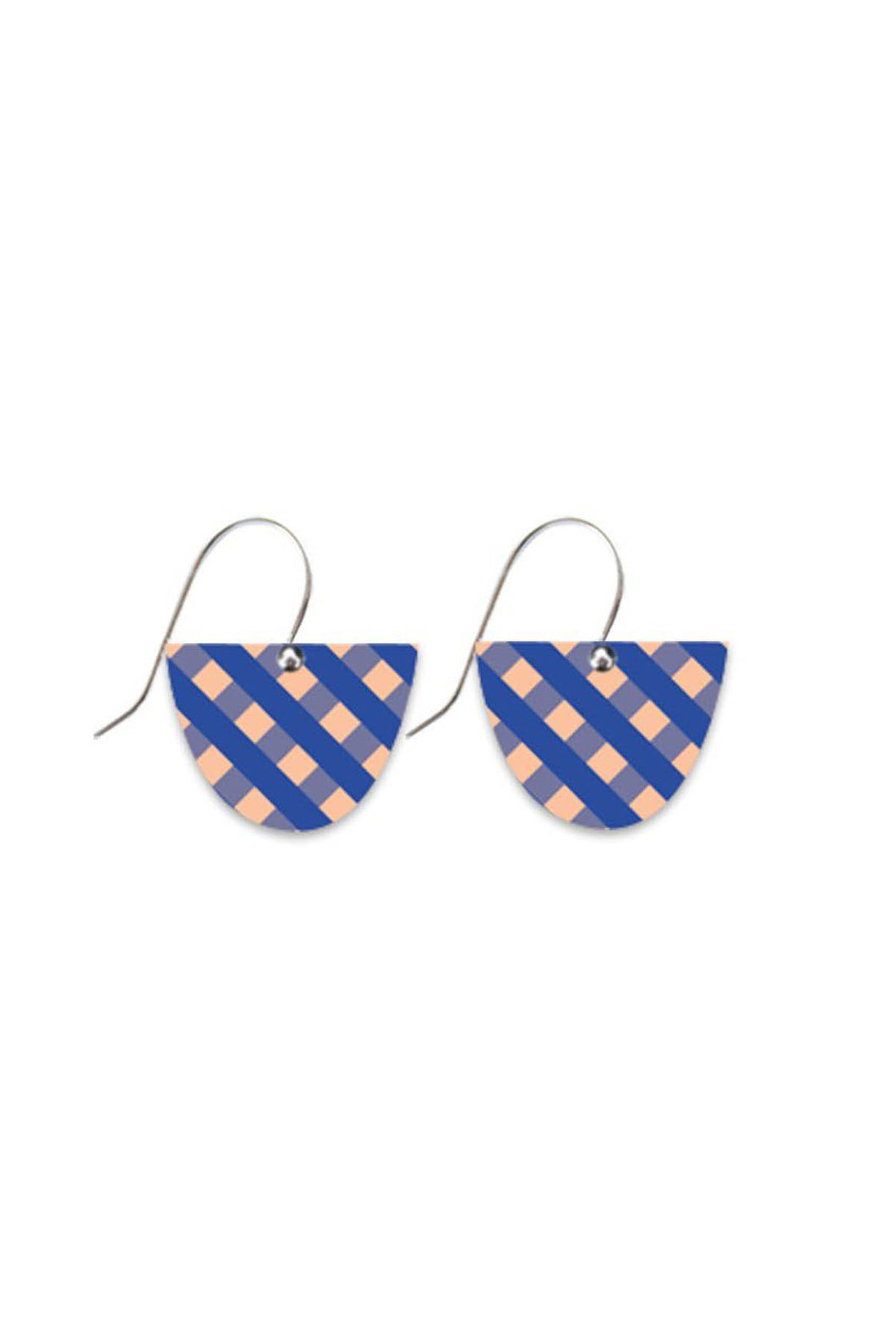 Indigo Gingham Small Bell Drop Earring