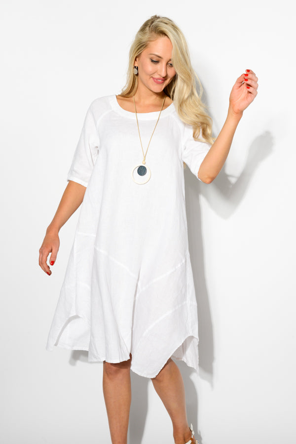 White Linen A Line Dress - Blue Bungalow