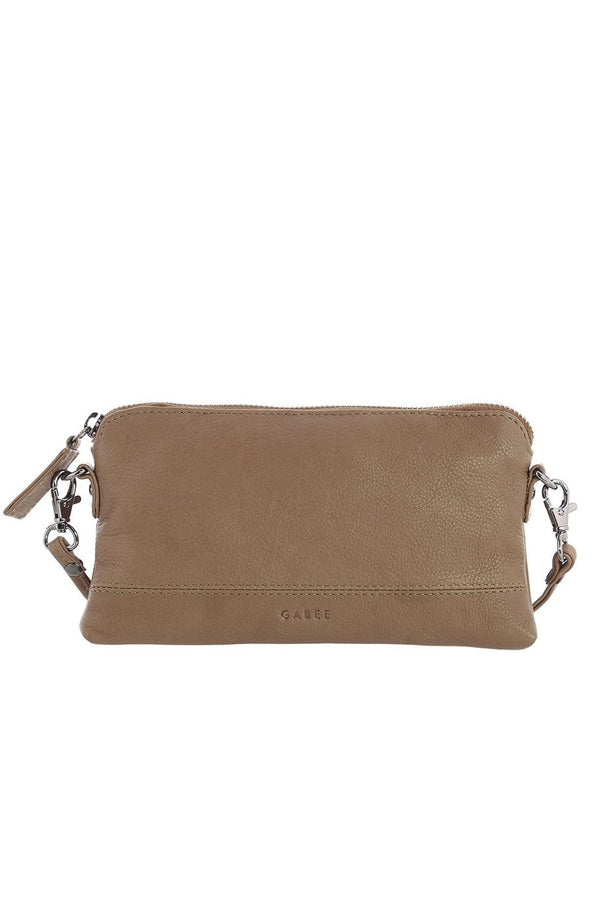 Kara Taupe Leather Clutch - Blue Bungalow