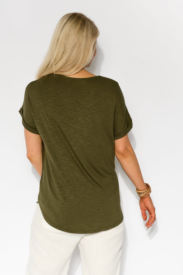 Khaki Marle Cross Hem Top