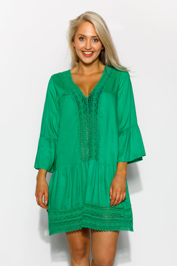 Green Acadia Embroidered Kaftan - Blue Bungalow