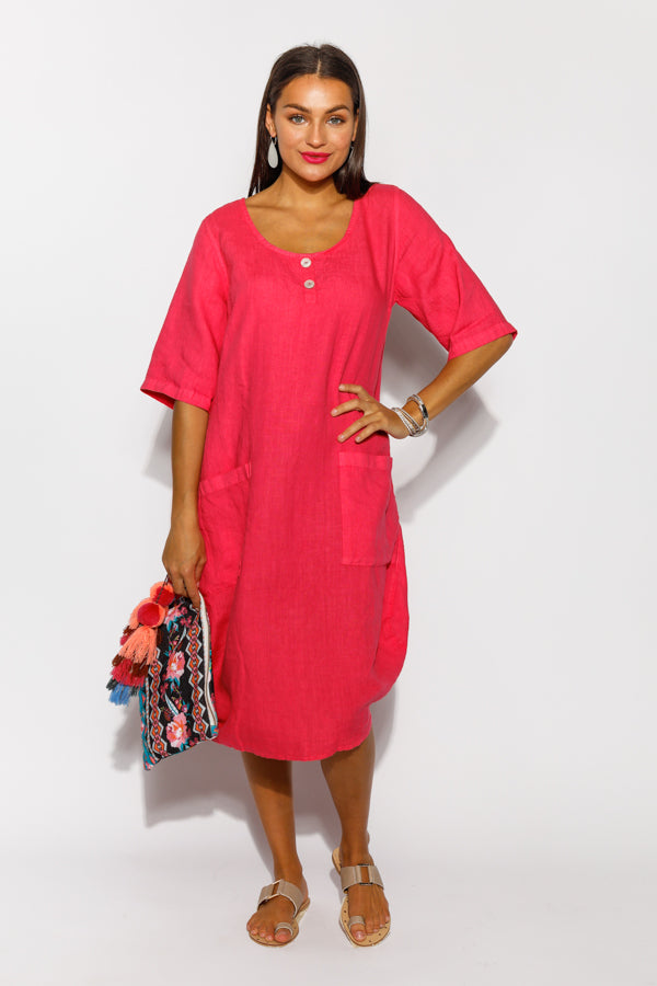 Haidee Pink Linen Pocket Dress - Blue Bungalow
